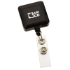 Square Retractable Badge Holder with Slip-On Clip - Opaque