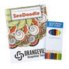 View Image 1 of 4 of Stress Relieving Adult Colouring Book & Pencils - Zen Doodle