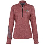 adidas 3 Stripe Brushed Heather 1/4-Zip Pullover - Ladies