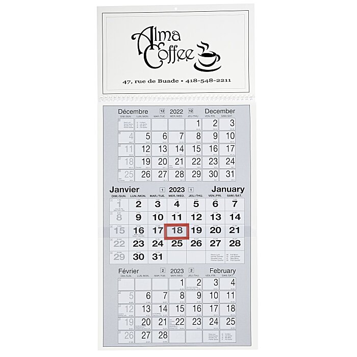 4imprint Ca Commercial 3 Month View Calendar French English