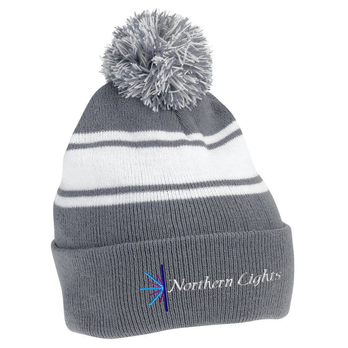 ba560778edf 4imprint.ca  Pom Pom Cuffed Beanie with Stripes C126231-ST