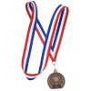 View Extra Image 1 of 2 of Econo Medal - Flat Bottom with Red, White & Blue Ribbon