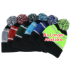 View Extra Image 1 of 1 of Tri-Tone Striped Pom Pom Cuffed Beanie