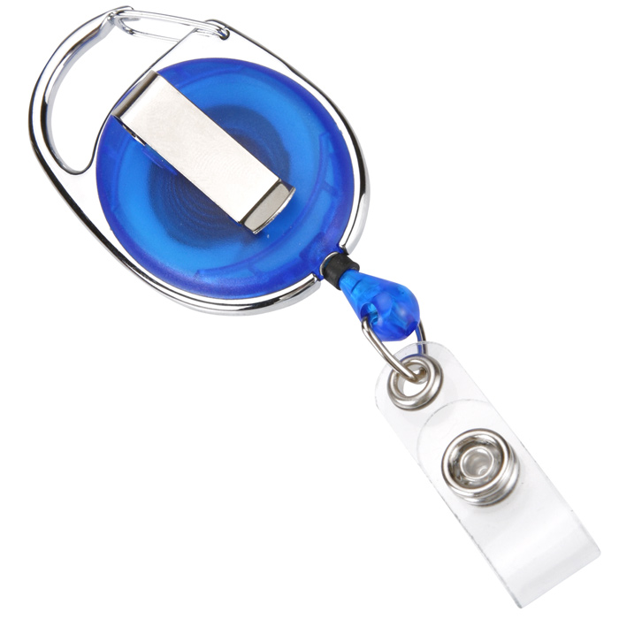 Clip-On Retractable Badge Holder with Slide Clip - Translucent