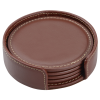 View Extra Image 3 of 3 of Vintage Round Bonded Leather Coaster Set