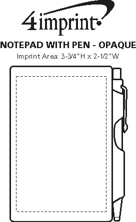 Imprint Area of Notepad with Pen - Opaque