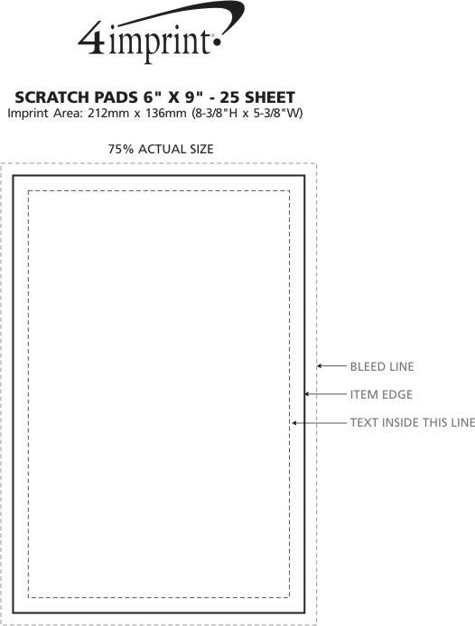 "Imprint Area of Bic Non-Adhesive Notepad - 9"" x 6"" - 25 Sheet"