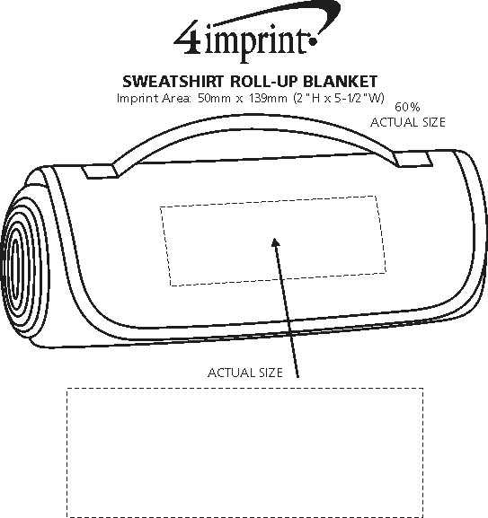 Imprint Area of Sweatshirt Roll-Up Blanket