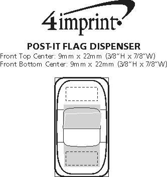 Imprint Area of Post-it® Flag Dispenser