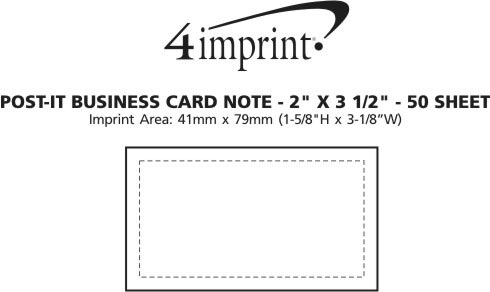 "Imprint Area of Post-it® Business Card Notes - 2"" x 3-1/2"" - 50 Sheet"