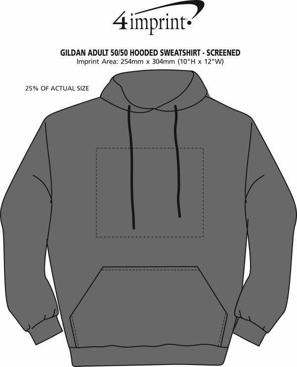 Imprint Area of Gildan 50/50 Adult Hooded Sweatshirt - Screen