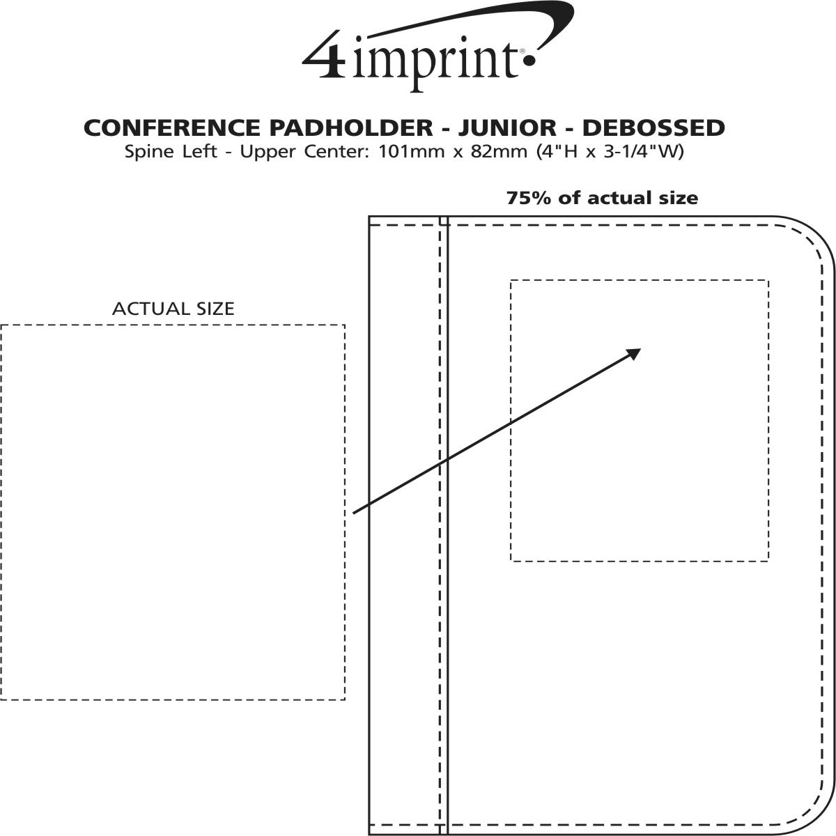 Imprint Area of Conference Padholder with Notepad - Junior - Debossed