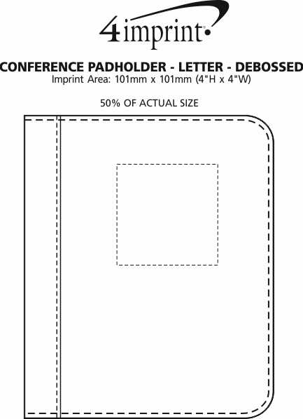 Imprint Area of Conference Padholder with Notepad - Letter - Debossed