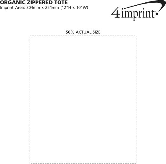 Imprint Area of Organic Zippered Tote