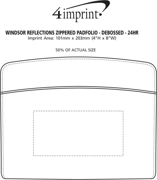 Imprint Area of Windsor Reflections Zippered Padfolio - 24 hr