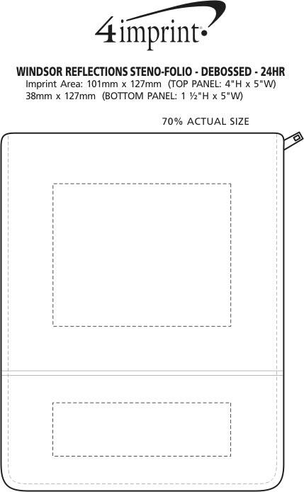 Imprint Area of Windsor Reflections Steno-Folio - Debossed - 24 hr