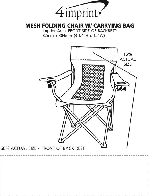 Imprint Area of Mesh Folding Chair with Carrying Bag