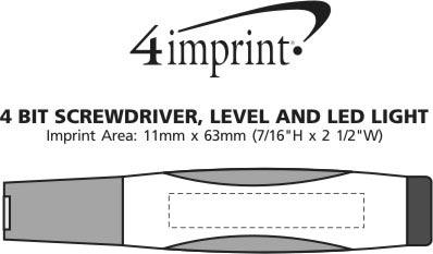 Imprint Area of 4 Bit Screwdriver, Level and LED Light