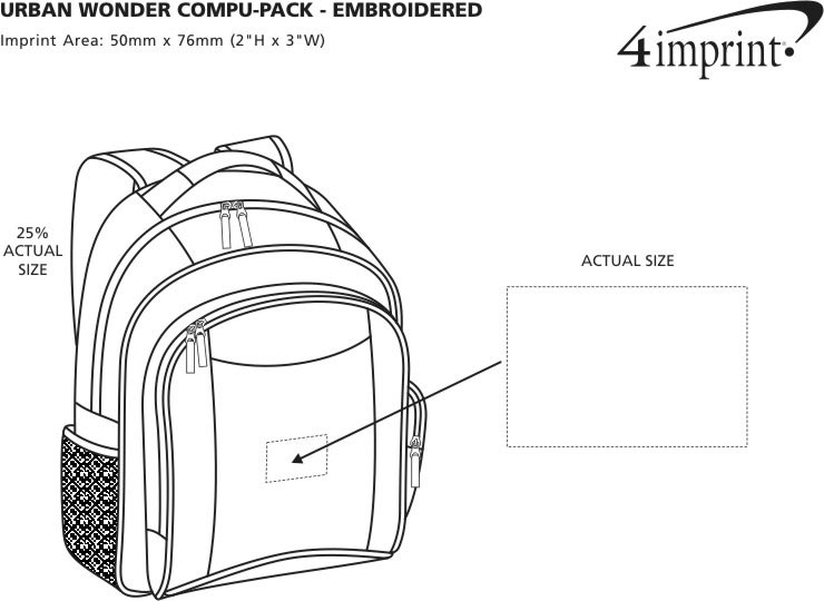 Imprint Area of Urban Wonder Laptop Pack - Embroidered
