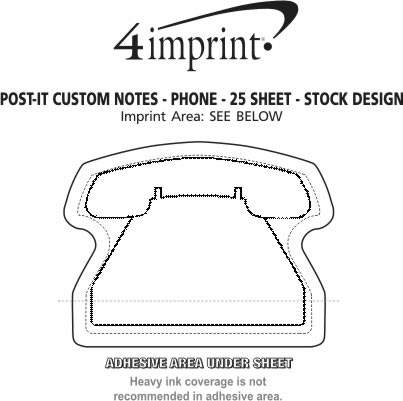 Imprint Area of Post-it® Custom Notes - Phone - 25 Sheet - Stock Design