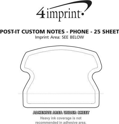 Imprint Area of Post-it® Custom Notes - Phone - 25 Sheet