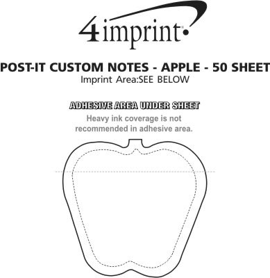 Imprint Area of Post-it® Custom Notes - Apple - 50 Sheet