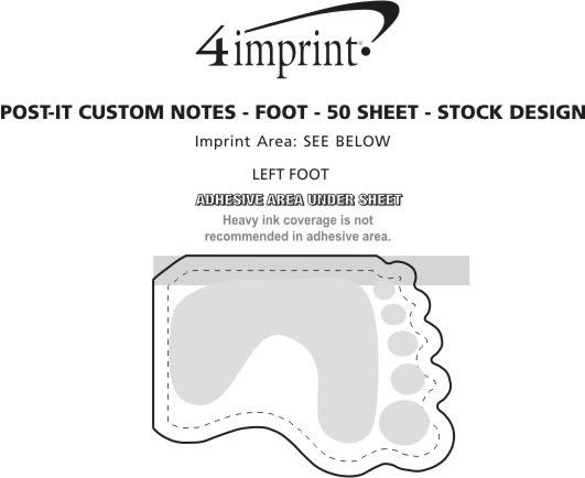 Imprint Area of Post-it® Custom Notes - Foot - 50 Sheet - Stock Design