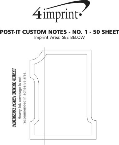 Imprint Area of Post-it® Custom Notes - No 1 - 50 Sheet