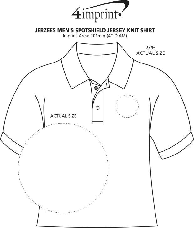 Imprint Area of Jerzees SpotShield Jersey Knit Shirt - Men's - Embroidered