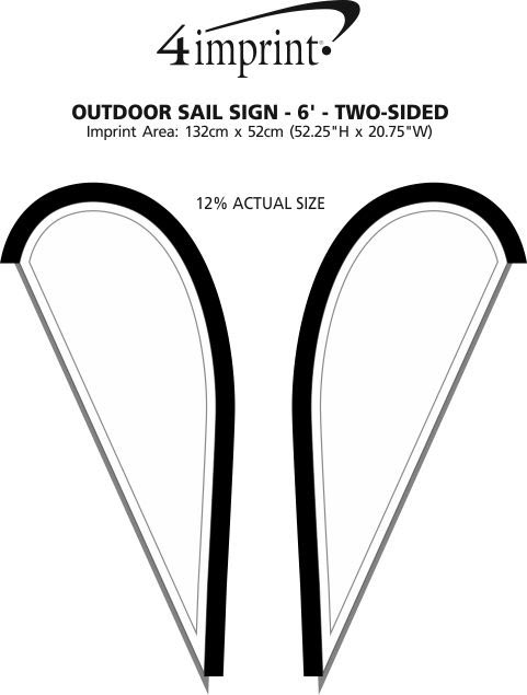 Imprint Area of Outdoor Sail Sign - 6' - Two-Sided