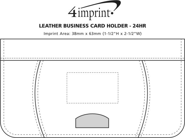 Imprint Area of Leather Business Card Holder - 24 hr