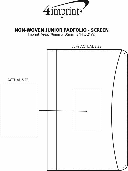 Imprint Area of Non-Woven Junior Padfolio - Screen