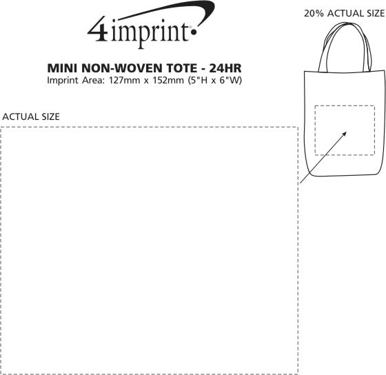 Imprint Area of Mini Non-Woven Tote - 24 hr