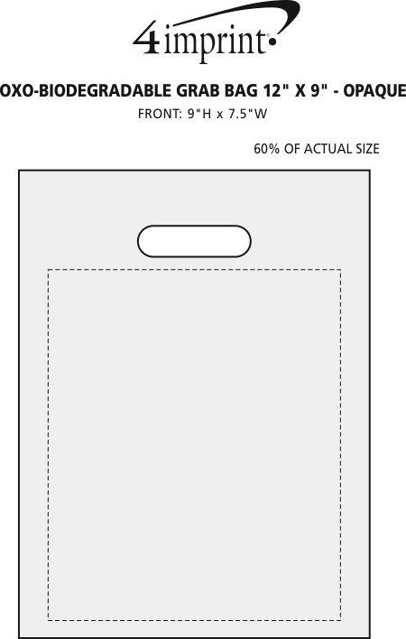 "Imprint Area of Oxo-Biodegradable Grab Bag - 12"" x 9"" - Opaque"