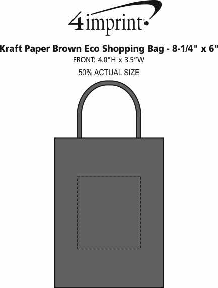 "Imprint Area of Eco Paper Bag - 8-1/4"" x 6"""