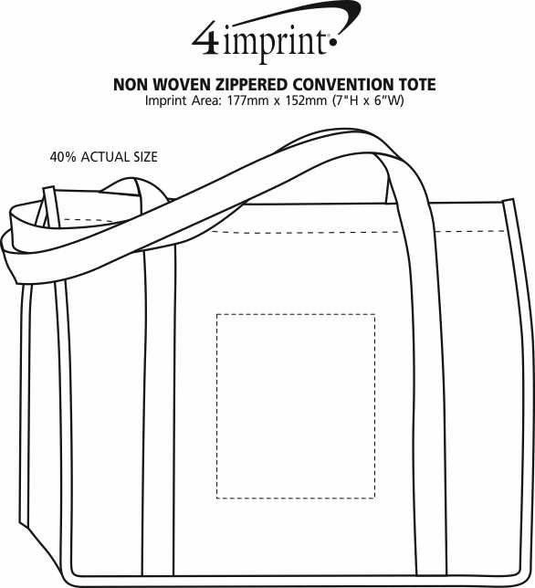 Imprint Area of Non-Woven Zippered Convention Tote - 24 hr