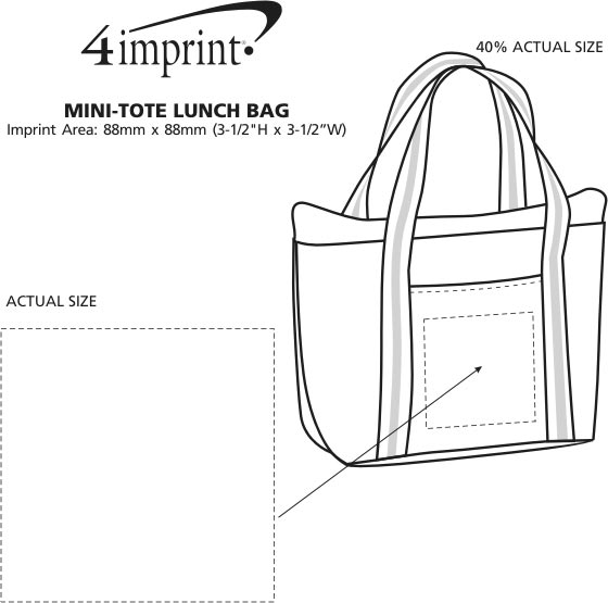 Imprint Area of Mini-Tote Lunch Bag - Closeout