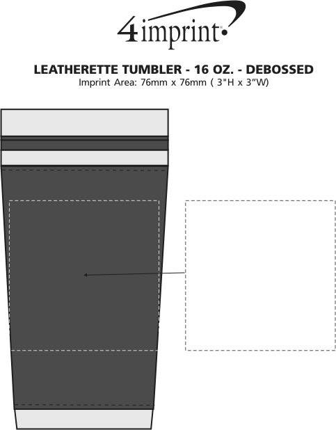 Imprint Area of Leatherette Tumbler - 16 oz. - Debossed