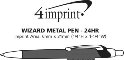 Imprint Area of Dimensions Metal Pen - 24 hr