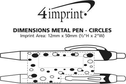 Imprint Area of Dimensions Metal Pen - Circles