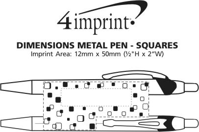 Imprint Area of Dimensions Metal Pen - Squares