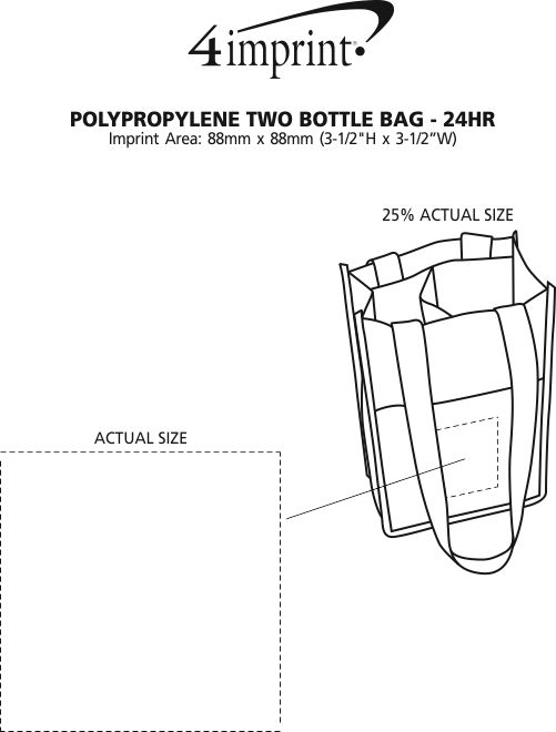 Imprint Area of Non-Woven Two Bottle Bag - 24 hr