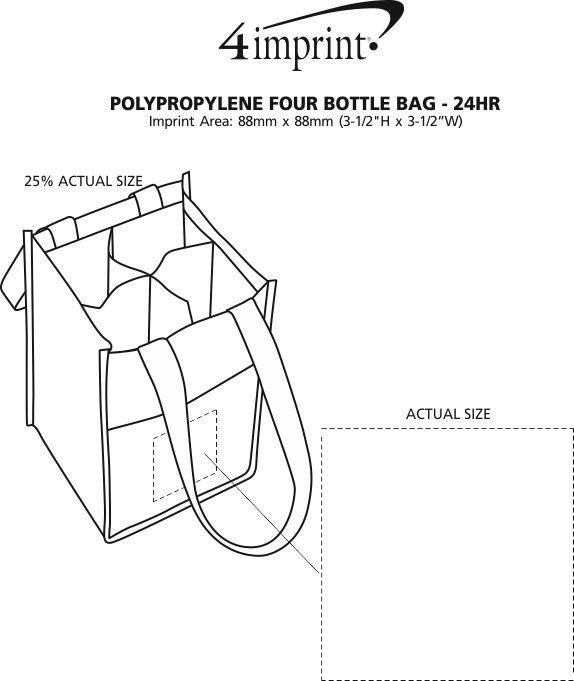 Imprint Area of Non-Woven Four Bottle Bag - 24 hr