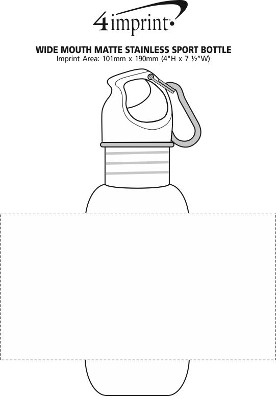 Imprint Area of Wide Mouth Matte Stainless Sport Bottle