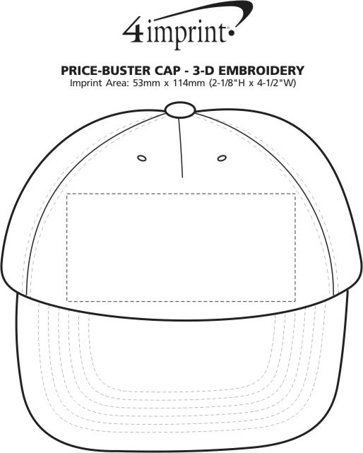 Imprint Area of Price Buster Cap - 3D Puff Embroidery