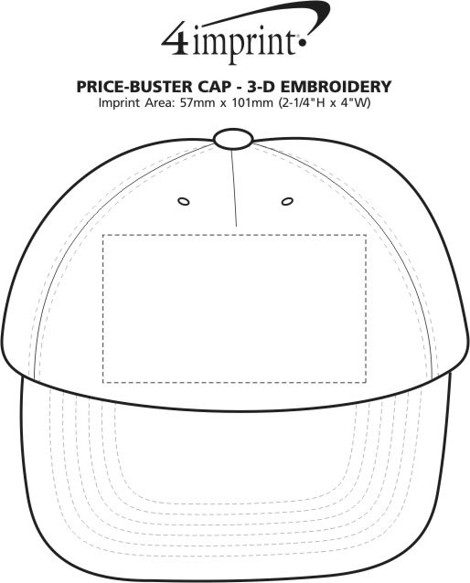 Imprint Area of Price Buster Cap - Embroidered