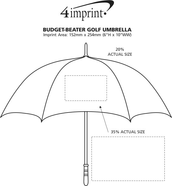 "Imprint Area of Budget-Beater Golf Umbrella - 60"" Arc"
