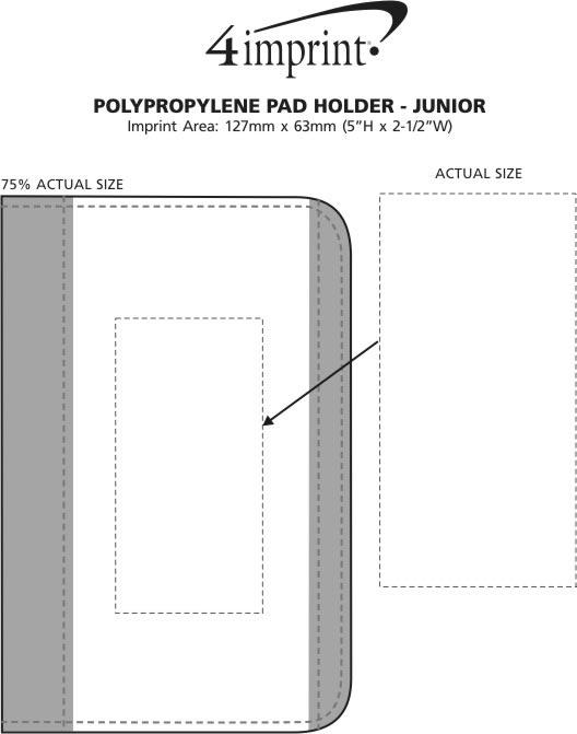 Imprint Area of Polypropylene Pad Holder with Notepad - Junior