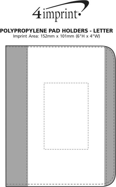 Imprint Area of Polypropylene Pad Holder with Notepad - Letter