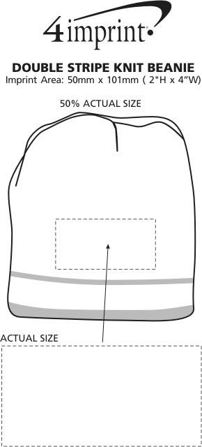 Imprint Area of Double Stripe Knit Beanie